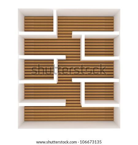 Empty shelves design on white background. - stock photo