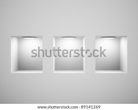 Empty shelves for exhibit in the wall. 3d image. - stock photo
