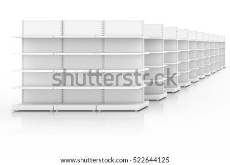 Empty shelves for goods in shop, supermarket or library. 3D illustration