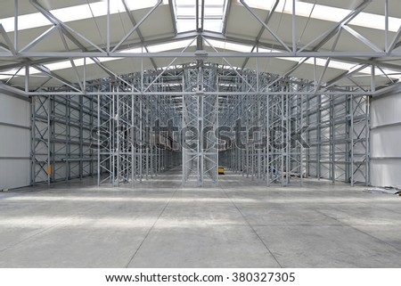 Empty Shelves in New Distribution Warehouse - stock photo