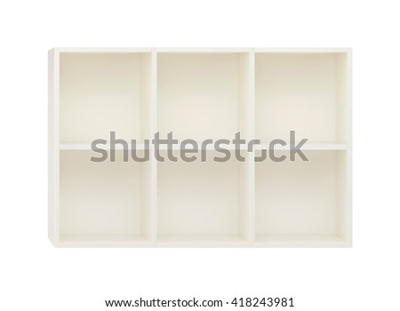 Empty Shelves in the white wooden rack isolated on white - stock photo