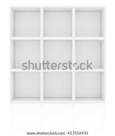 Empty shelves in white floor with reflection. 3D illustration