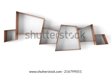 Empty shelves isolated on clean white background. - stock photo