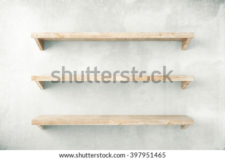 Empty shelves on concrete wall background. Mock up, 3D Rendering