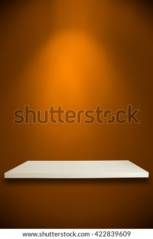 Empty shelves on yellow wall for your product design