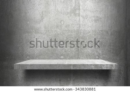 empty  shelves top Ready for product display montage; cement  shelves and gray cement background. - stock photo