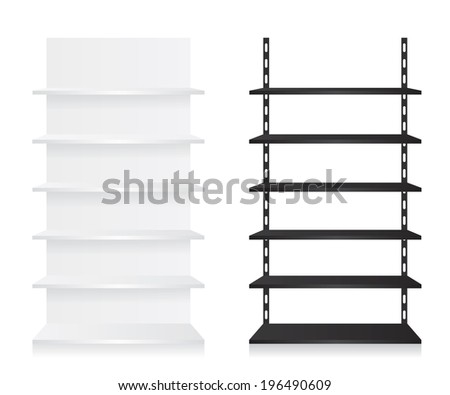 Empty shop shelves black and white - stock photo