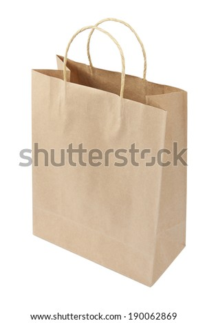 Empty Shopping Bag from craft paper, Recycled paper shopping bag isolated on white