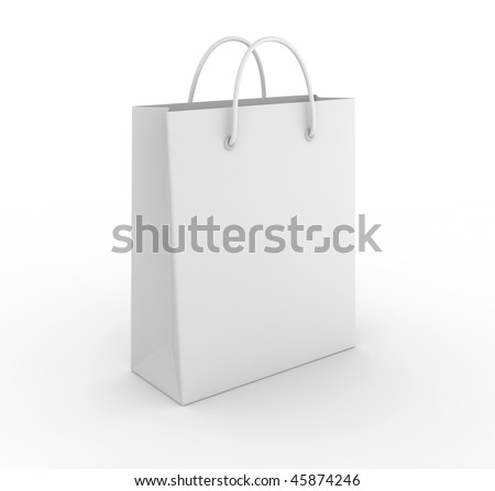 Empty shopping bag on white background. Computer generated image. - stock photo