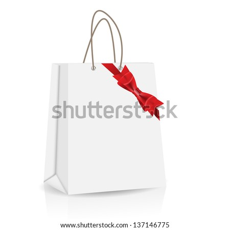 Empty Shopping Bag with bow and ribbon  for advertising and branding  illustration