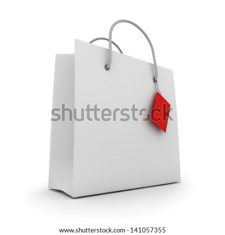 Empty shopping bag with label on white background. 3d - stock photo