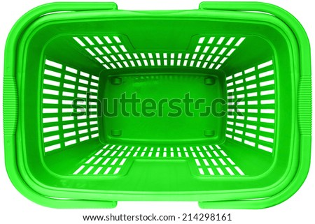 Empty Shopping basket green color top view supermarket trolley. Isolated on white background. This has clipping path. - stock photo