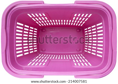 Empty Shopping basket pink color top view supermarket trolley. Isolated on white background. This has clipping path. - stock photo