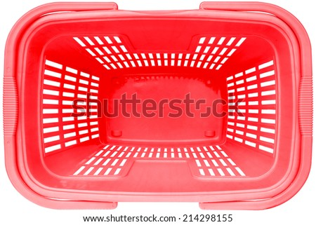 Empty Shopping basket red color top view supermarket trolley. Isolated on white background. This has clipping path. - stock photo
