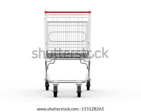 Empty shopping cart, front view, isolated on white background. - stock photo