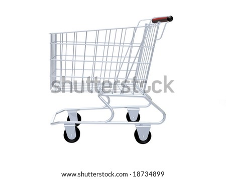 Empty shopping cart isolated in white background. - stock photo