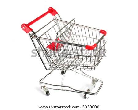 Empty Shopping Cart Isolated on white - stock photo