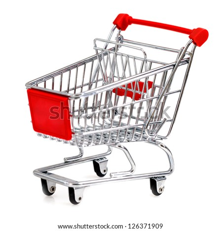 Empty shopping cart isolated on white. Close up