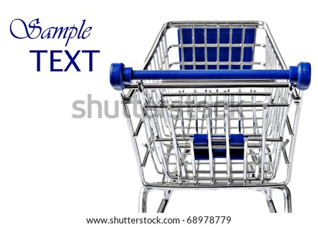 Empty shopping cart on white background with copy space.  Closeup with extremely shallow dof. - stock photo