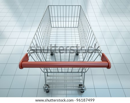 Empty shopping cart seen from shopper's perspective. 3D render. - stock photo
