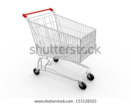 Empty shopping cart, side view, isolated on white background. - stock photo