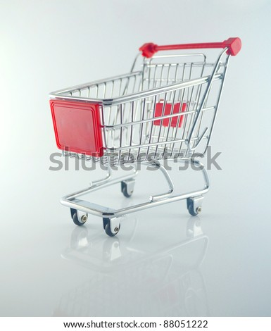 Empty shopping cart viewed from side for shopping - stock photo