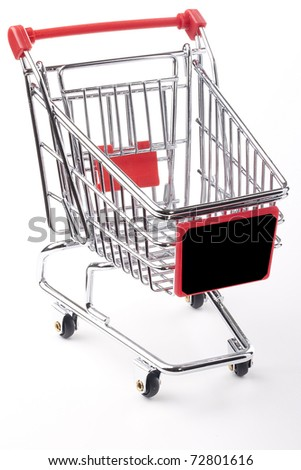 Empty shopping cart with the red handle on a white background.