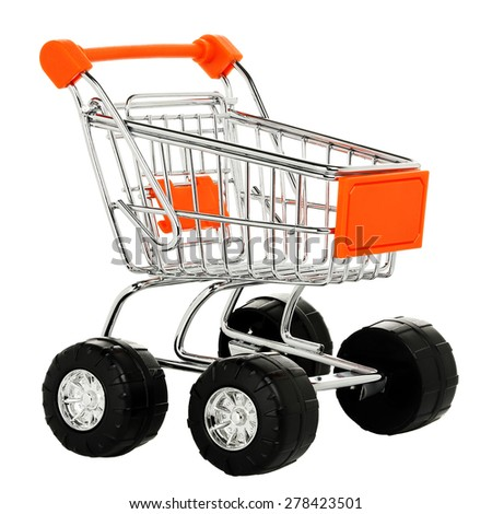 empty shopping cart with wheels isolated on white background - stock photo
