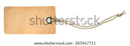 Empty shopping tag template. Isolated on white - stock photo