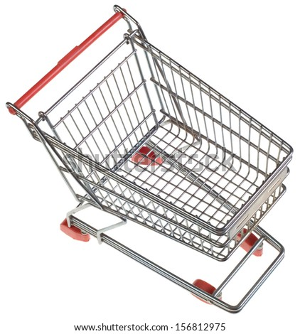 Empty Shopping Trolley from Above Isolated on White Background - stock photo