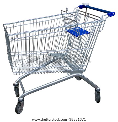 Empty shopping trolley isolated on white with clipping path - stock photo