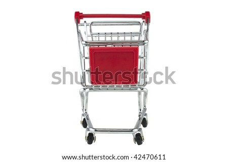 empty shopping trolley shot on a white background - stock photo