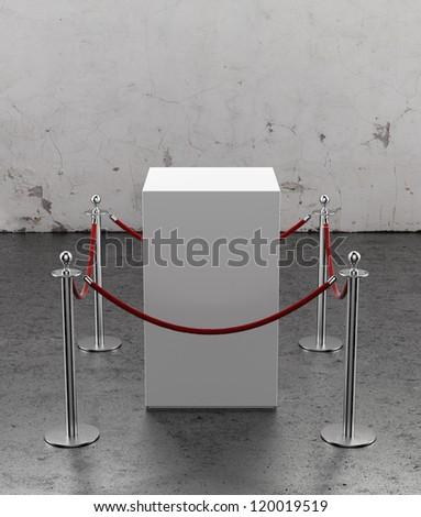 Empty showcase for exhibit. Plaster wall - stock photo