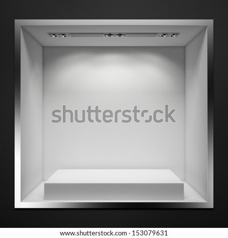 empty showcase with white stand - stock photo