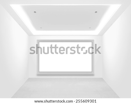 Empty showroom and blank screen - stock photo