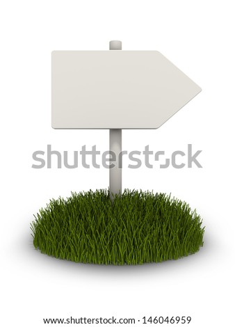 Empty sign on a patch of grass.