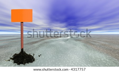 empty sign post on an abstract planet, large copy space for your content - stock photo