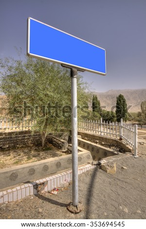 empty sign with a mountain landscape - stock photo