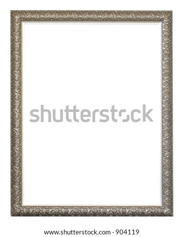 empty silver ornate frame isolated