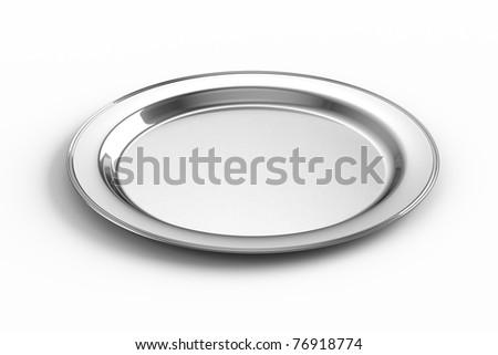 Empty silver plate - stock photo