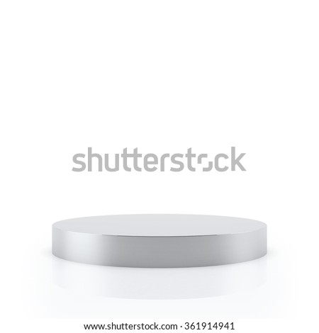 Empty Silver podium for award ceremony, Isolated on white background