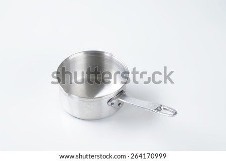 empty silver skillet on white background - stock photo