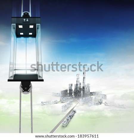 empty sky space elevator concept above city illustration - stock photo