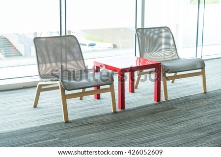 empty small table and  chairs - stock photo