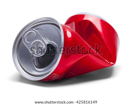 Empty Smashed Soda Pop Can Isolated on White Background.