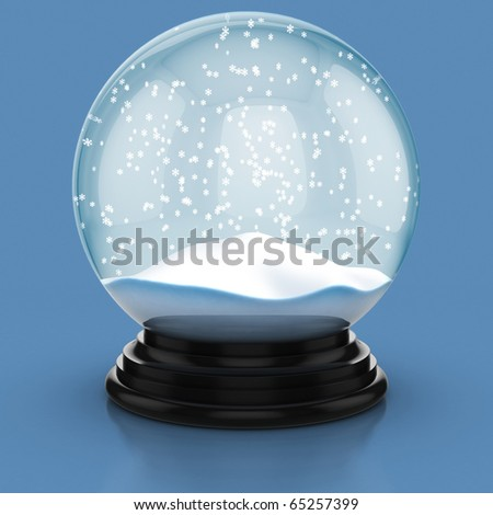 empty snow dome over blue background - stock photo