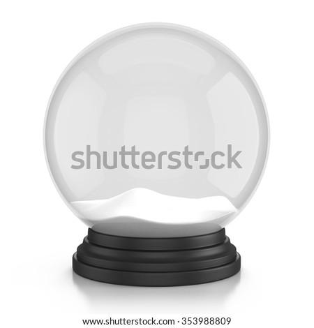 empty snow dome over white background  - stock photo