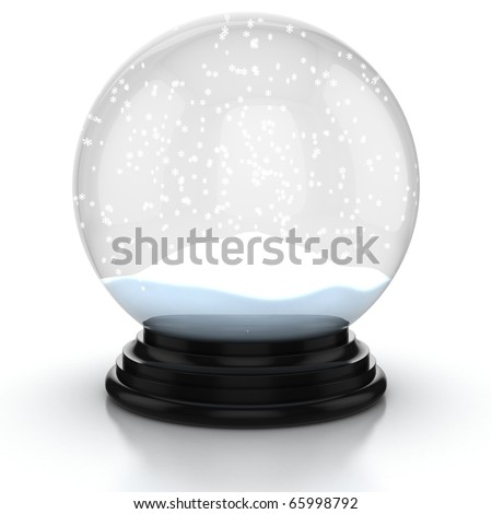 empty snow dome over white background - stock photo