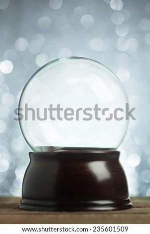 Empty snow globe Christmas background - stock photo