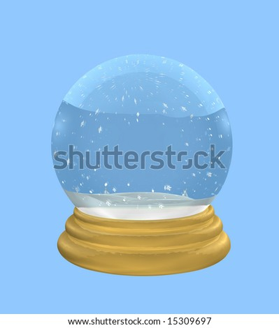 Empty snowglobe on blue has gold metallic base and clipping path for easy background color changes.